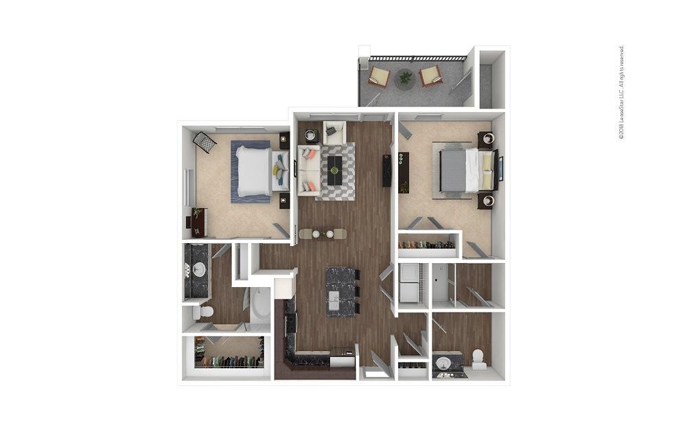 B1 2 bedroom 2 bath 1071 square feet