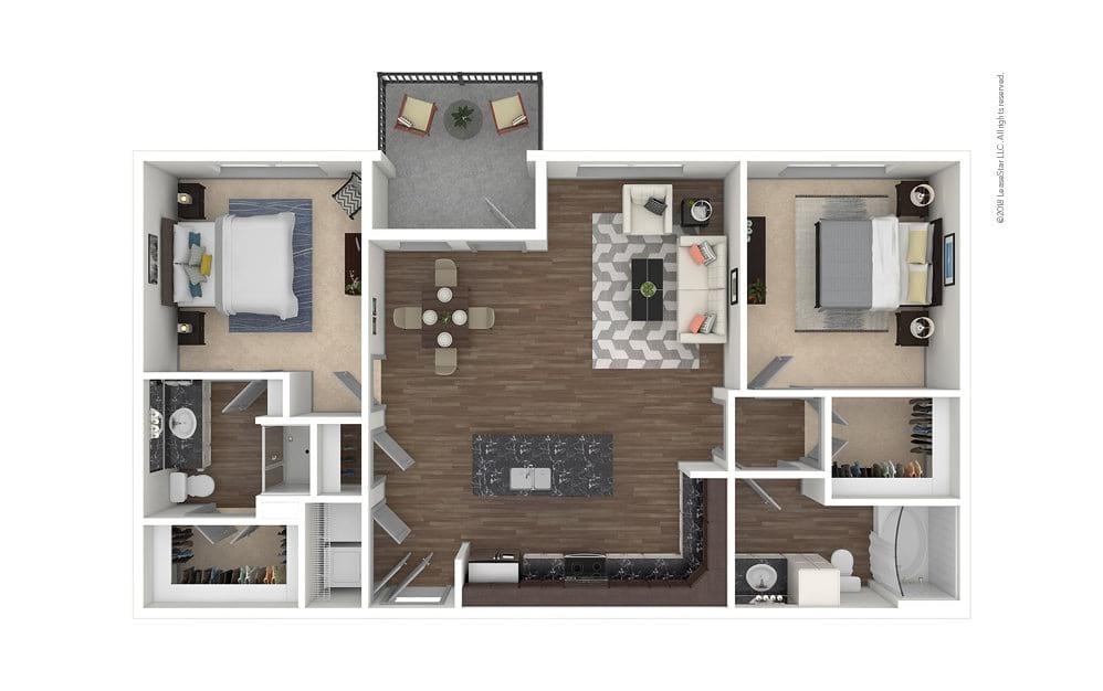 B4 2 bedroom 2 bath 1125 square feet