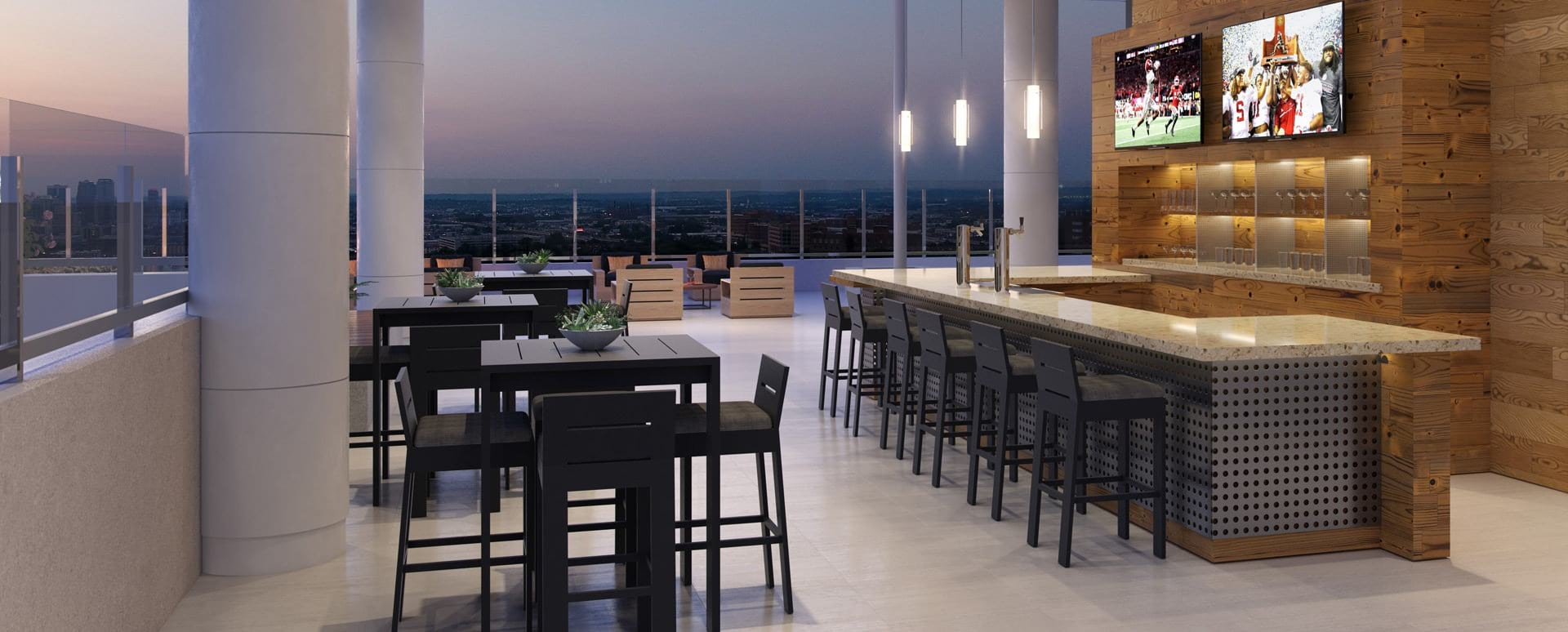 Rooftop lounge at Downtown Birmingham apartments
