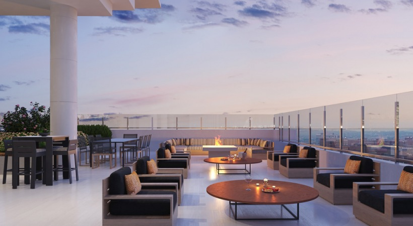 Rooftop lounge at luxury apartments in Birmingham