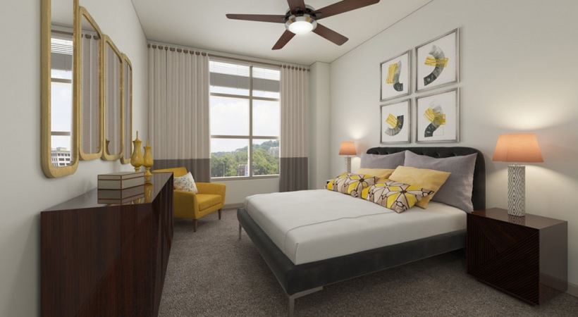 Spacious Bedroom with Ceiling Fan