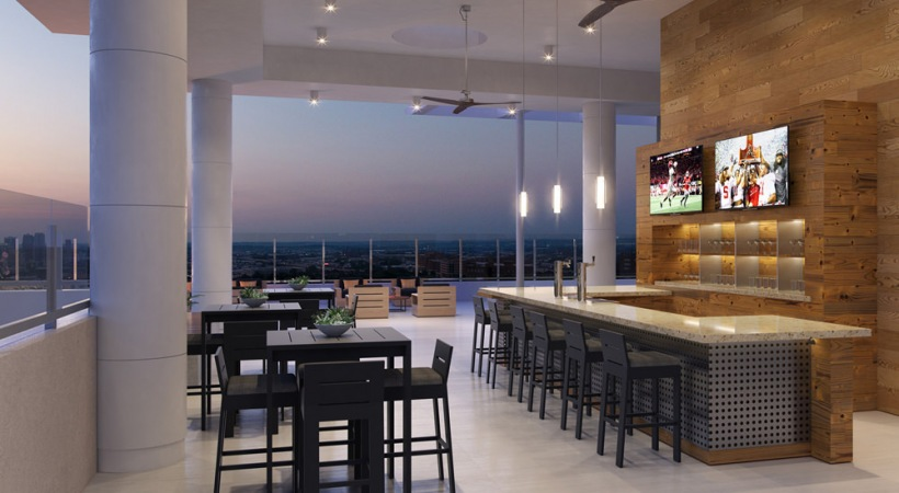 Rooftop bar and kitchen at Cortland Vesta
