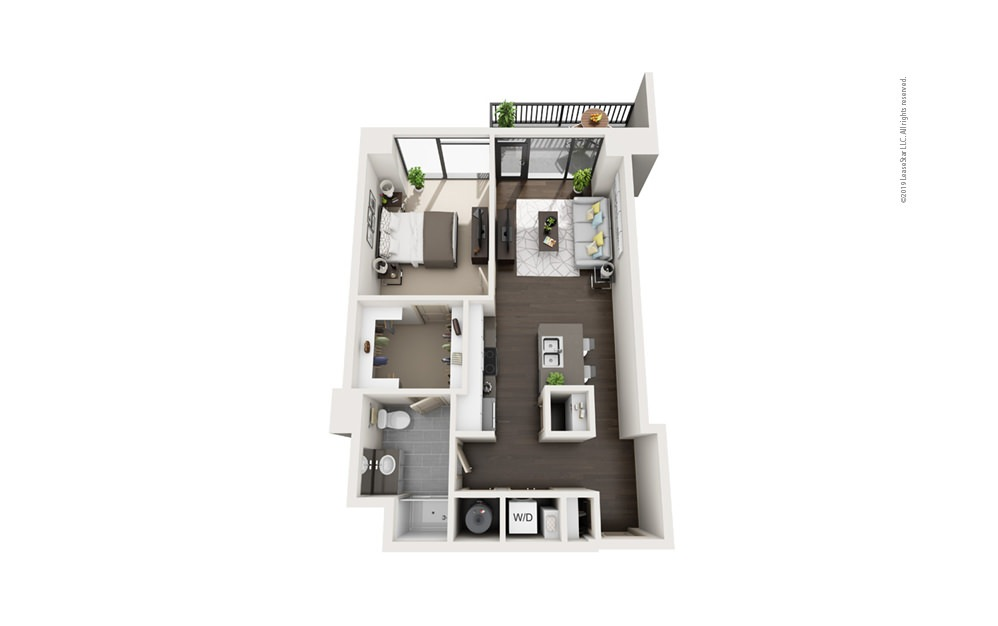 Highrise A12 1 bedroom 1 bath 767 square feet