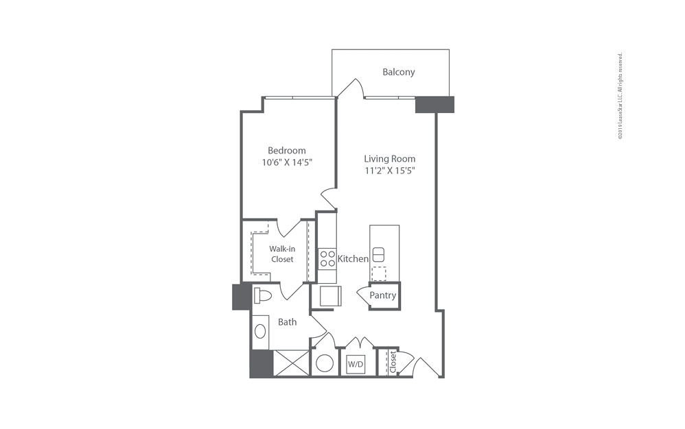 Highrise A12 1 bedroom 1 bath 767 square feet (1)
