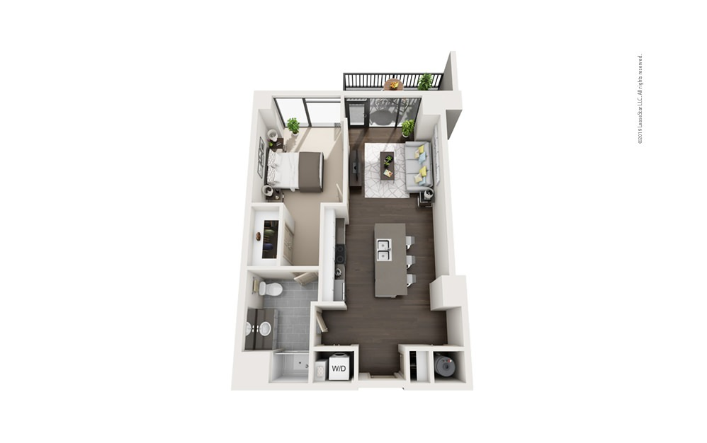 Highrise A13 1 bedroom 1 bath 772 square feet