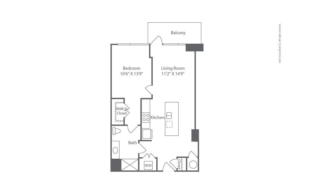 Highrise A13 1 bedroom 1 bath 772 square feet (1)