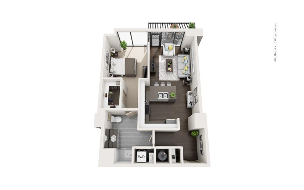 Highrise A14 1 bedroom 1 bath 775 square feet