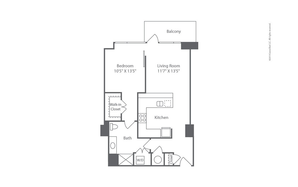 Highrise A14 1 bedroom 1 bath 775 square feet (1)