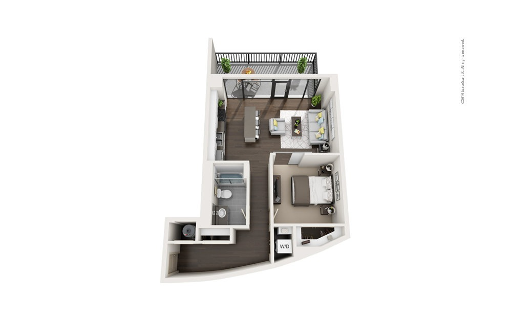 Highrise A16 1 bedroom 1 bath 799 square feet