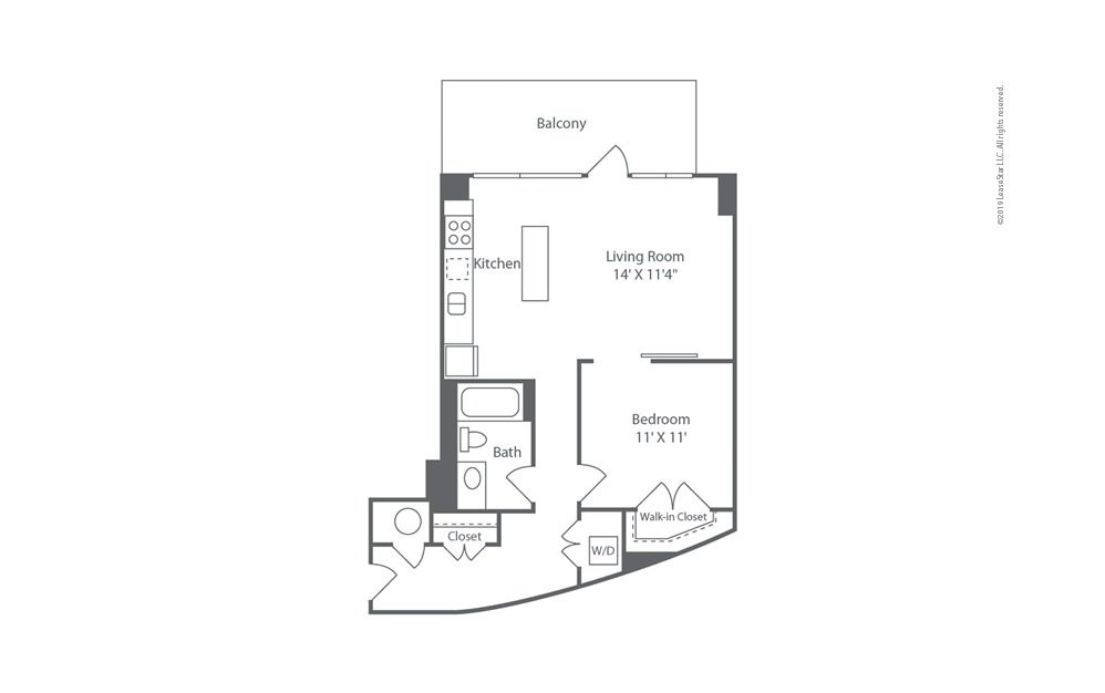 Highrise A16 1 bedroom 1 bath 799 square feet (1)
