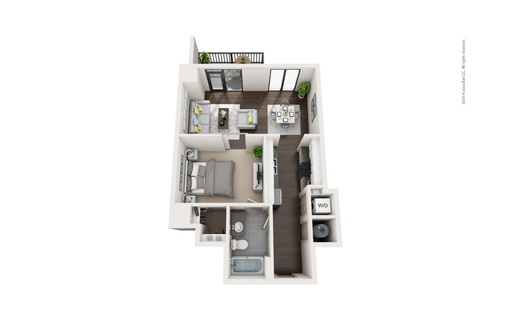 Highrise A5 1 bedroom 1 bath 686 square feet