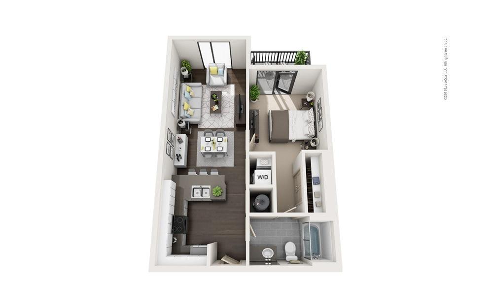 Highrise A6 1 bedroom 1 bath 704 square feet