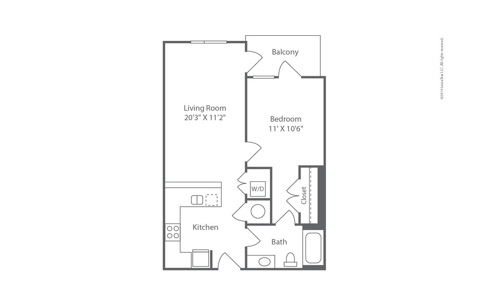 Highrise A6 1 bedroom 1 bath 704 square feet (1)
