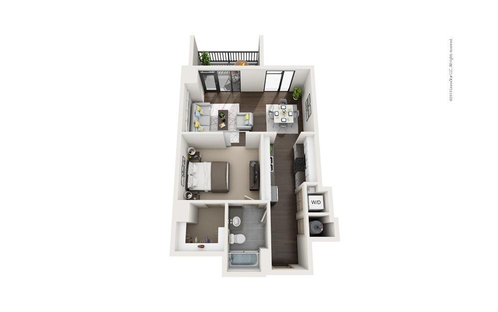 Highrise A7 1 bedroom 1 bath 723 square feet