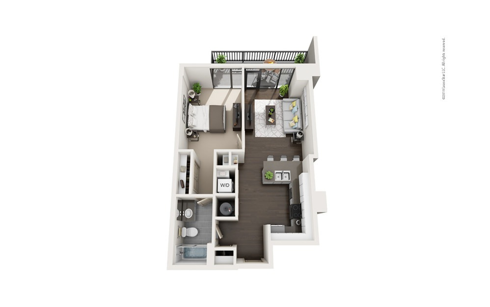 Highrise A8 1 bedroom 1 bath 734 square feet