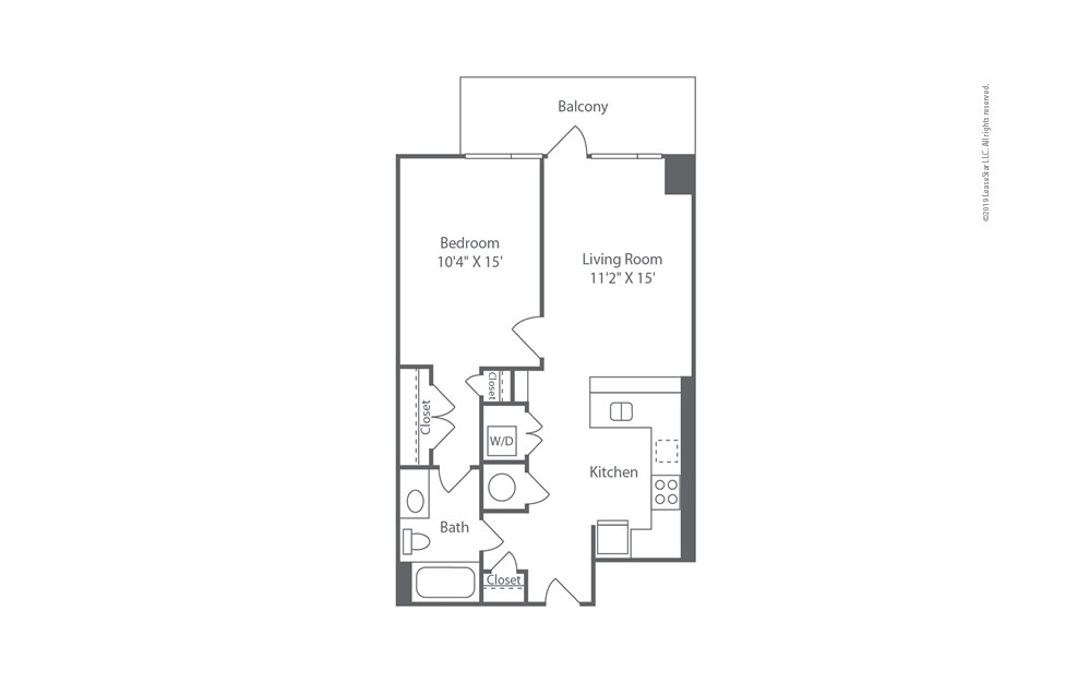 Highrise A8 1 bedroom 1 bath 734 square feet (1)