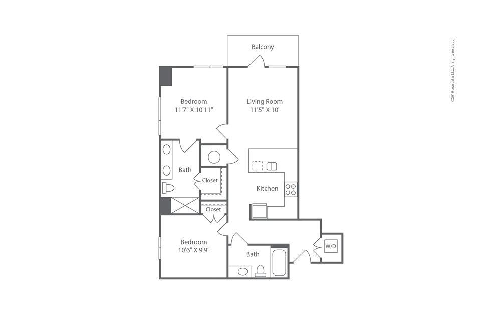 Highrise B1 2 bedroom 2 bath 926 square feet (1)