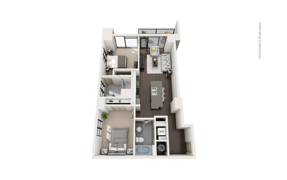 Highrise B5 2 bedroom 2 bath 1021 square feet