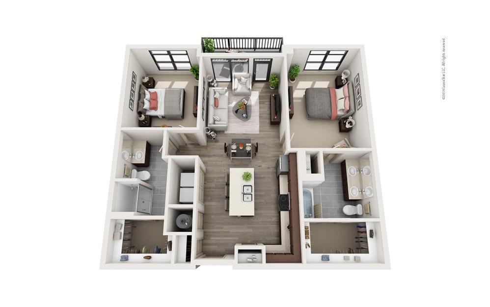 Midrise B11 2 bedroom 2 bath 1165 square feet