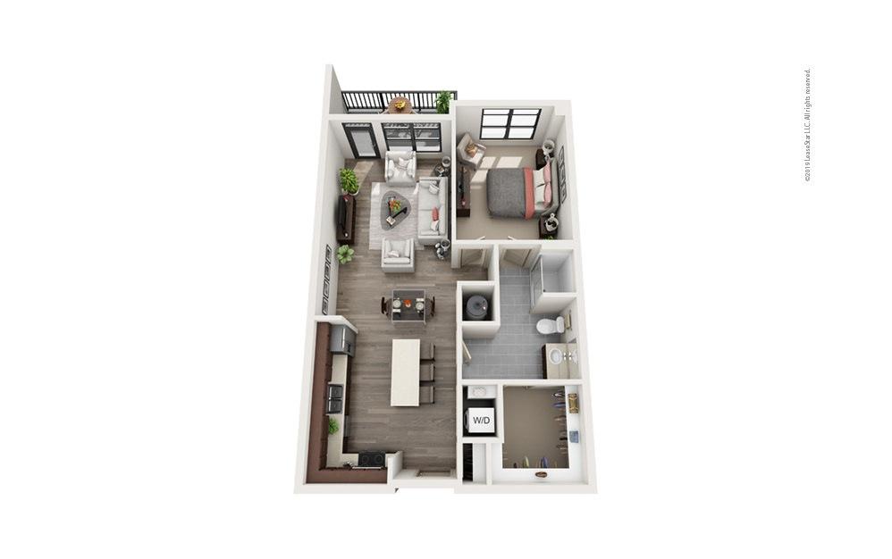 Midrise A17 1 bedroom 1 bath 851 square feet
