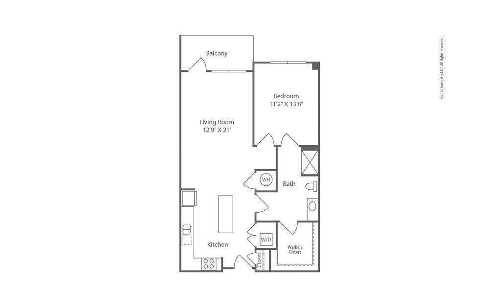 Midrise A17 1 bedroom 1 bath 851 square feet (1)