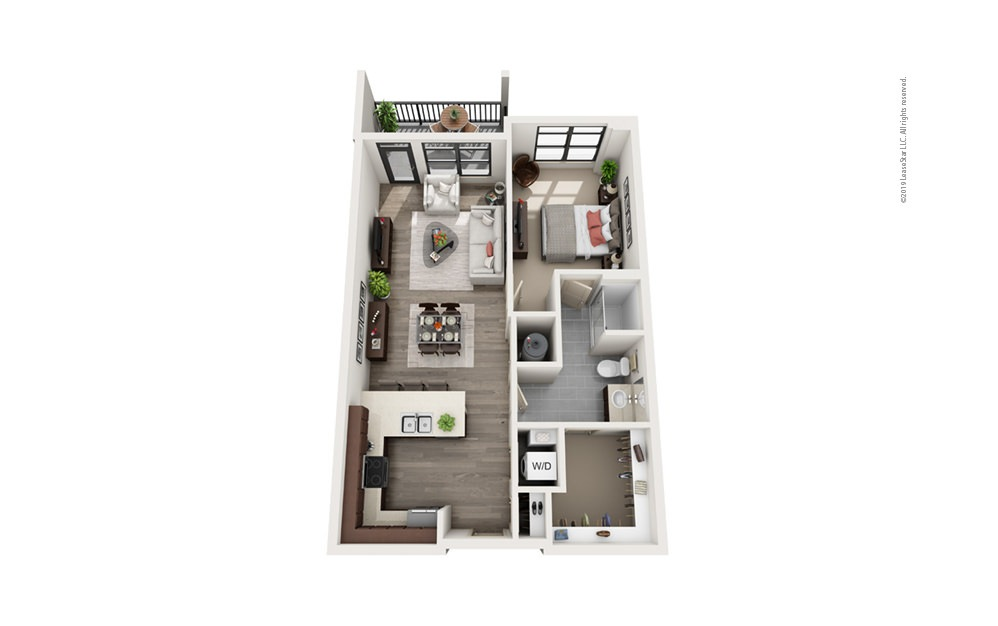 Midrise A18 1 bedroom 1 bath 856 square feet