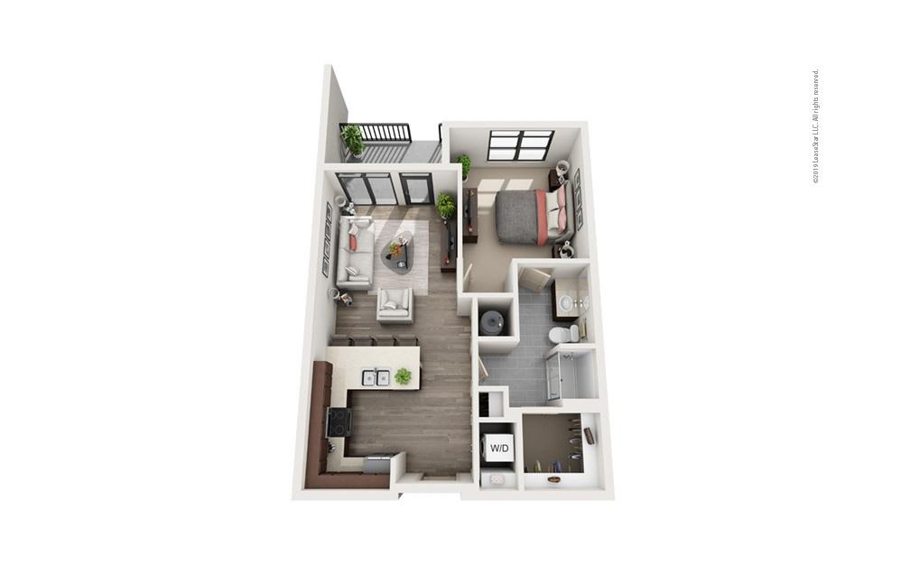 Midrise A9 1 bedroom 1 bath 742 square feet