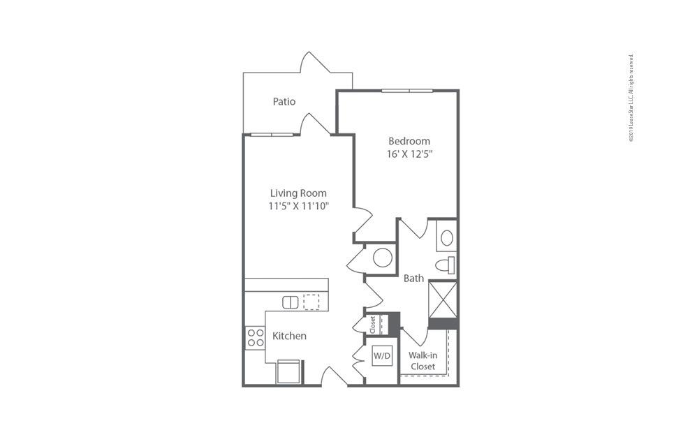 Midrise A9 1 bedroom 1 bath 742 square feet (1)