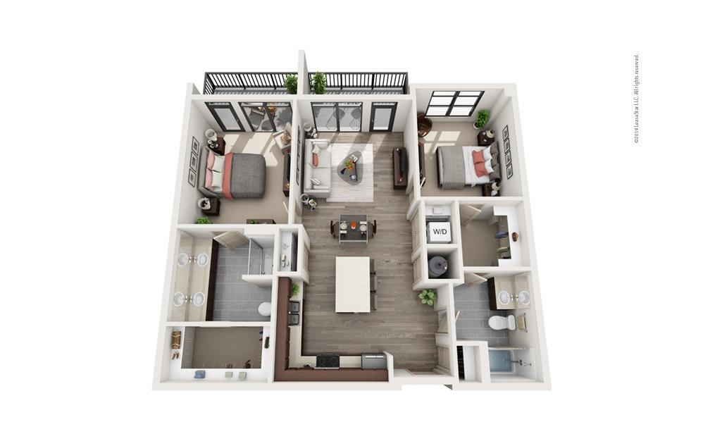 Midrise B10 2 bedroom 2 bath 1158 square feet
