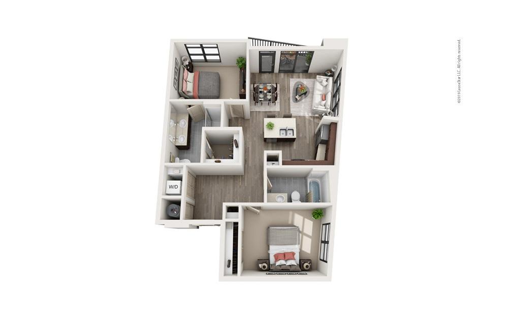 Midrise B7 2 bedroom 2 bath 1064 square feet
