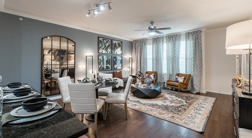 Spacious living areas at apartments in Farmers Branch, TX