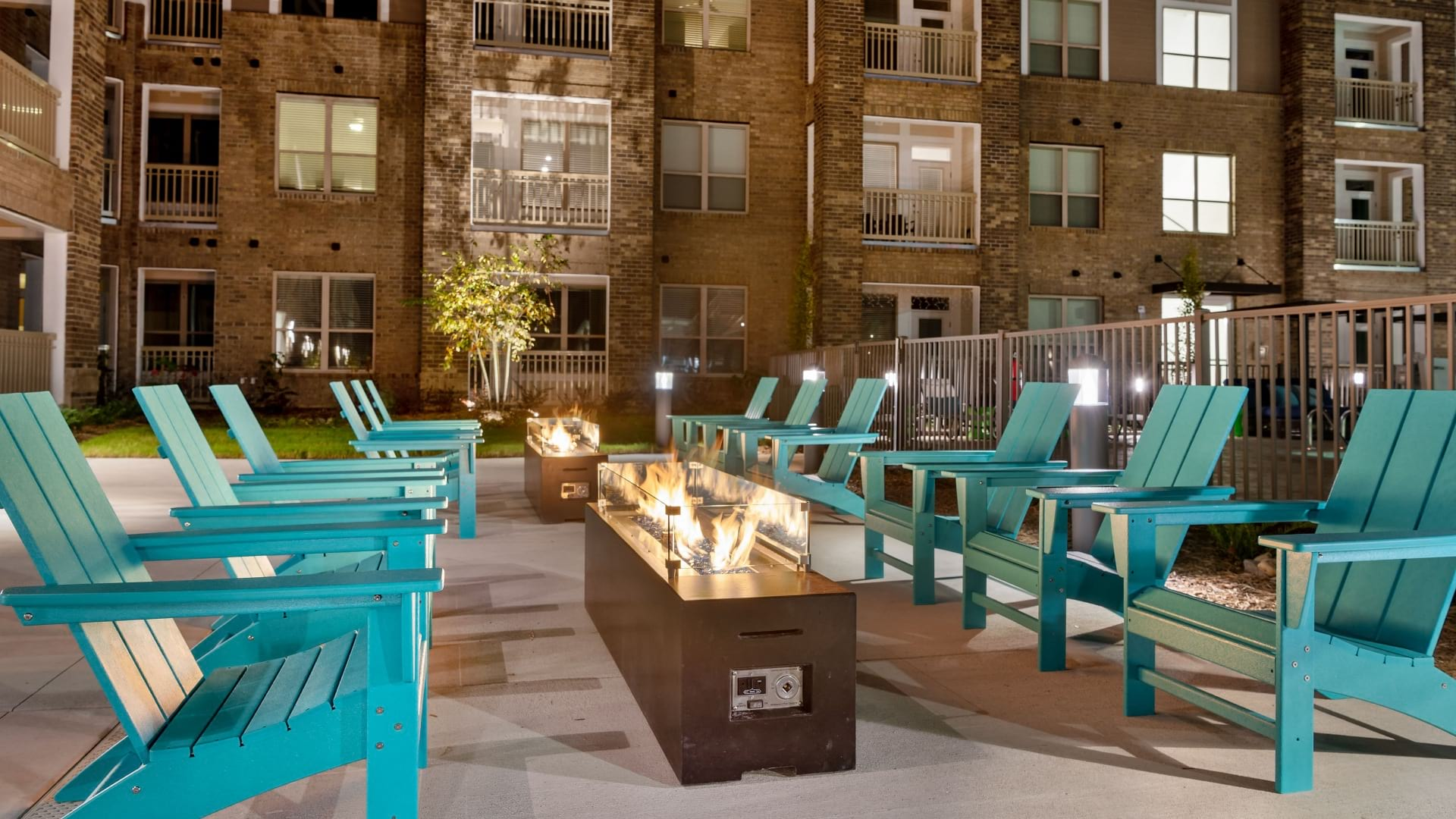 Outdoor lounge with firepit at our new apartments in Cary, NC