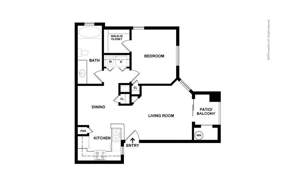Adams - Upgrade 1 bedroom 1 bath 804 square feet