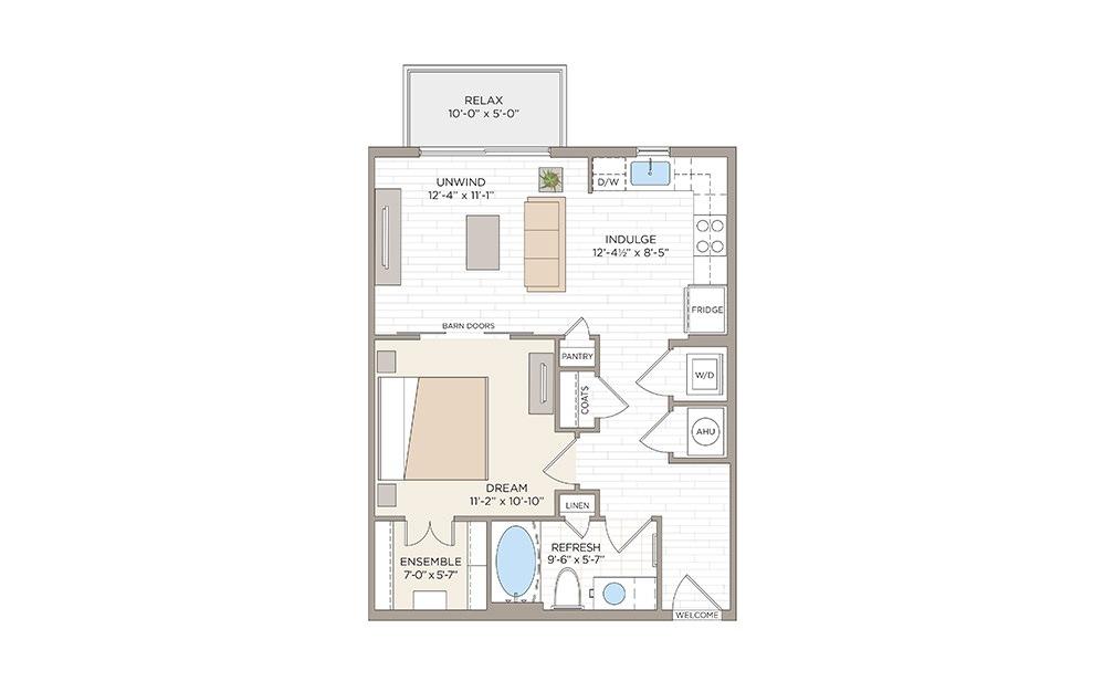 Anderson 1 bedroom 1 bath 652 square feet