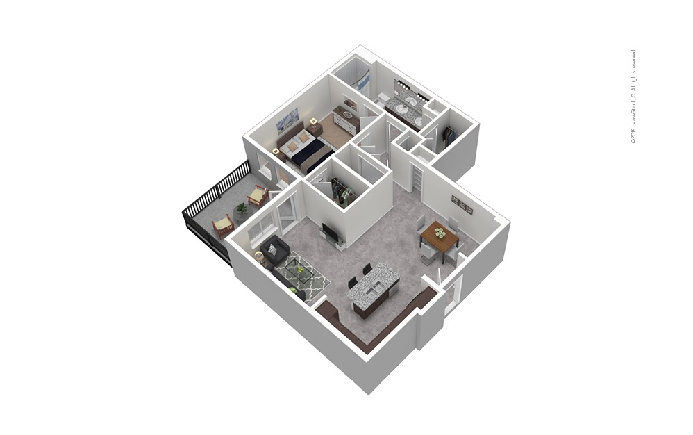 A10 1 Bed 1 Bath Furnished Floorplan