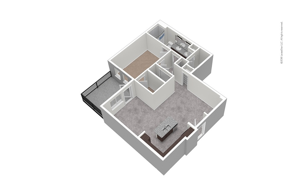 A10 1 Bed 1 Bath Unfurnished Floorplan
