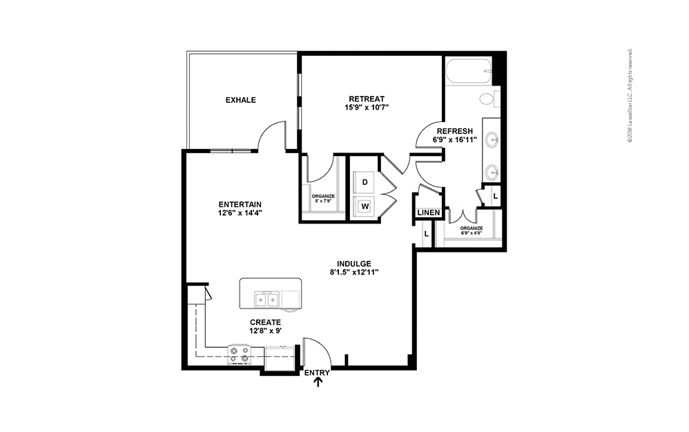 A10 1 Bed 1 Bath Floorplan