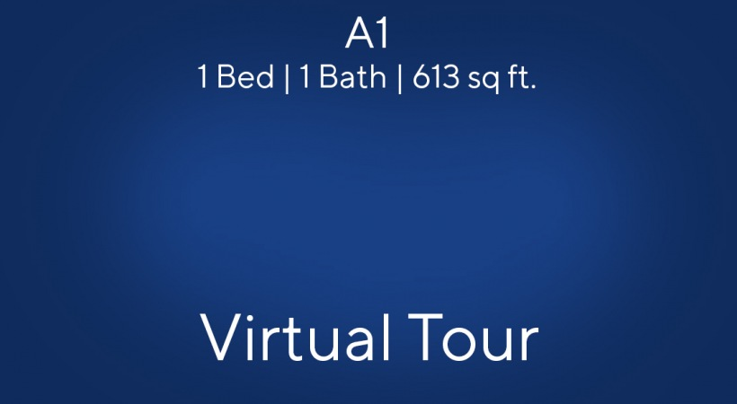 A1 Floor Plan, 1bed/1bath, 613 sq ft