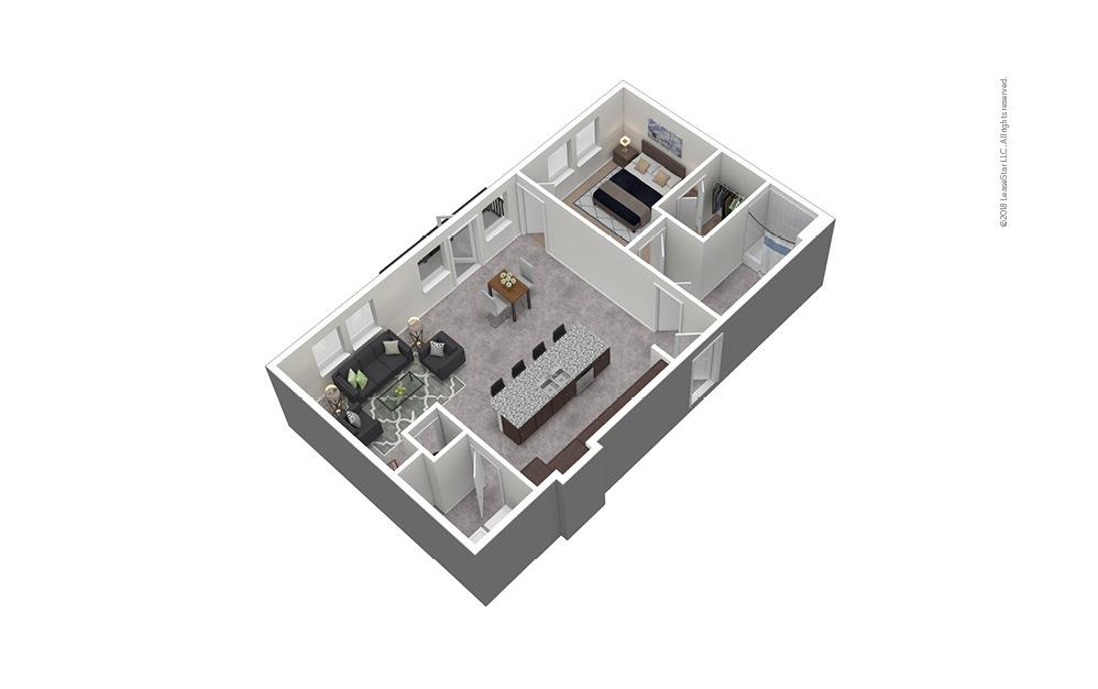 A11 1 Bed 1 Bath Furnished Floorplan