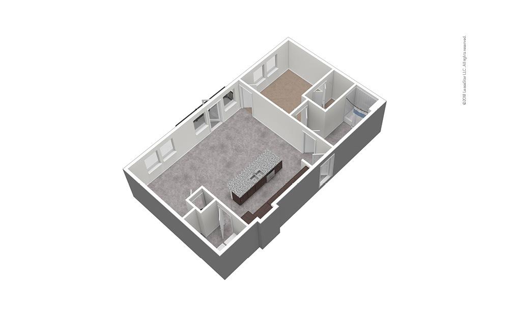 A11 1 Bed 1 Bath Unfurnished Floorplan