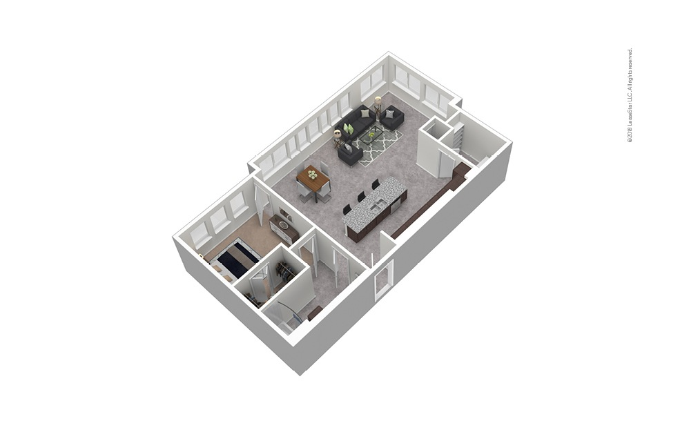 A12 1 Bed 1 Bath Furnished Floorplan