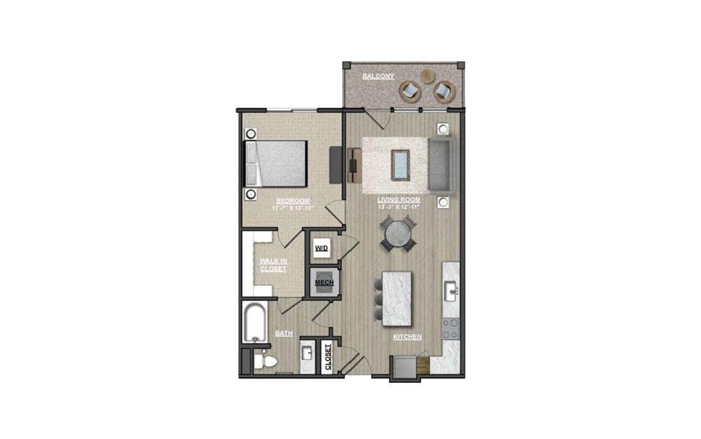 A18 - Hawthorns 1 bedroom 1 bath 808 square feet