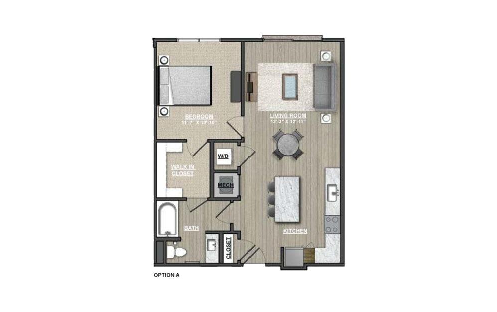 A18 - Hawthorns 1 bedroom 1 bath 808 square feet (1)