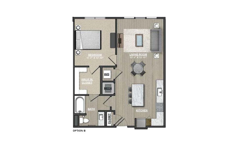 A18 - Hawthorns 1 bedroom 1 bath 808 square feet (2)