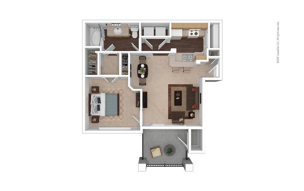 A1 1 Bed 1 Bath Furnished Floorplan