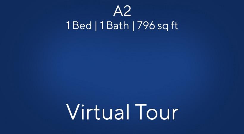 A2 Floor Plan, 1bed/1bath, 796 sq ft