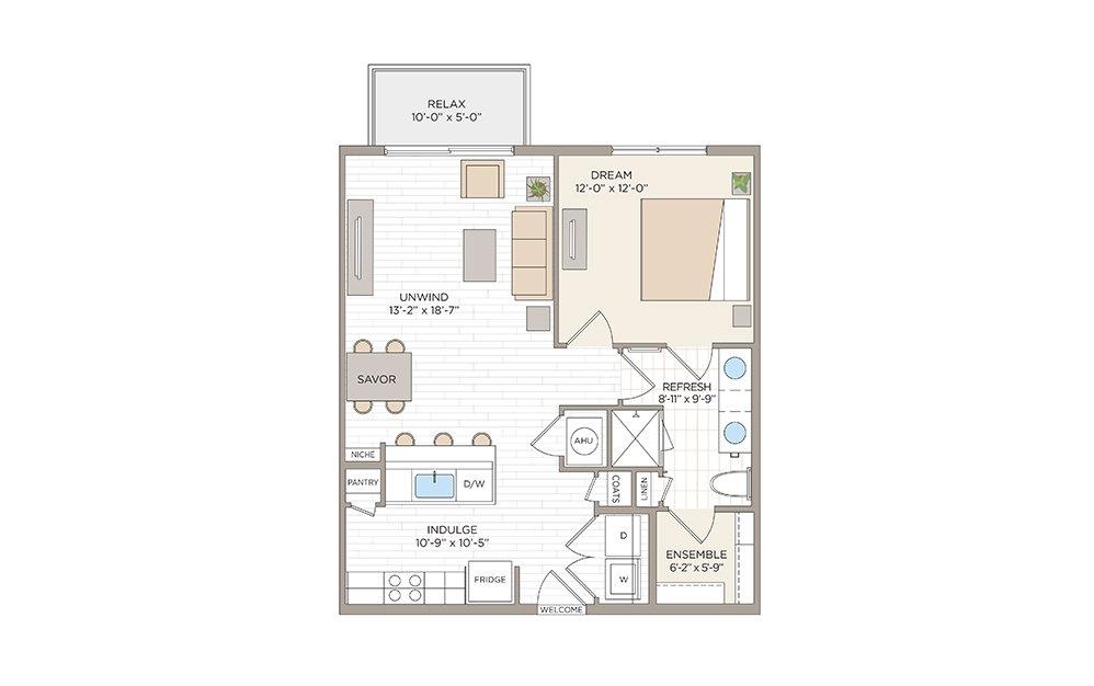 Delaney 1 bedroom 1 bath 754 square feet