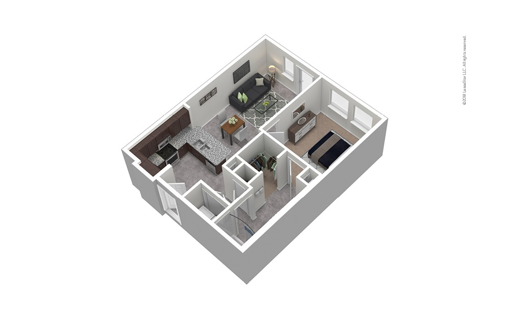 A2 1 Bed 1 Bath Furnished Floorplan