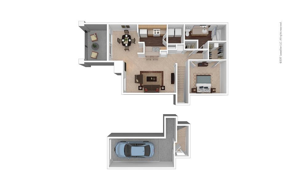 A2 1 Bed 1 Bath Furnished Floorplan