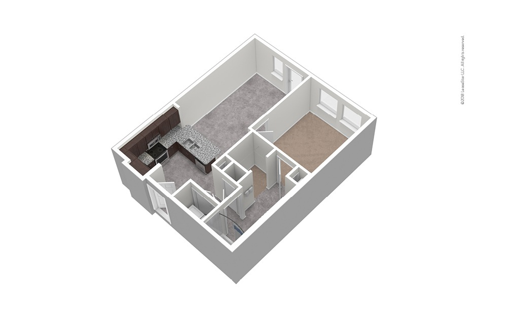 A2 1 Bed 1 Bath Unfurnished Floorplan